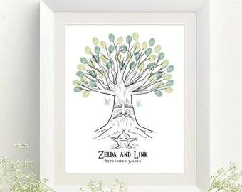 Deku Tree Thumbprint Tree Guestbook Print for Zelda Wedding - Digital File Only