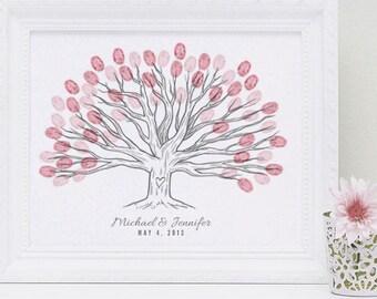 Wide Landscape Custom Thumbprint Wedding Tree Guest Book Print - Digital File Only