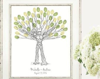 Groot and Rocket Custom Thumbprint Fingerprint Wedding Tree Guest Book Print - Digital File Only