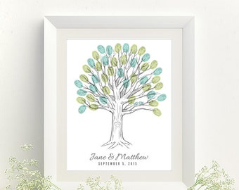 Thumbprint Tree Wedding Guest Book Print - Digital File Only