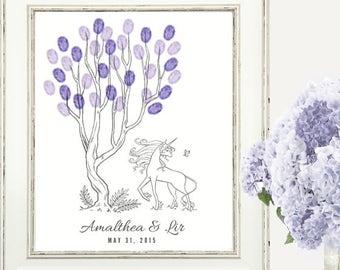 Last Unicorn Custom Thumbprint Fingerprint Tree Guesbook Print - Digital File Only