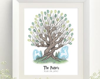 Harry Potter Wedding Whomping Willow Patronus Color Thumbprint Tree Guestbook Print - Digital File Only