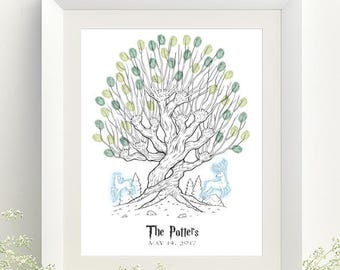 Harry Potter Wedding Guestbook Whomping Willow Thumbprint Tree Print - Digital File Only