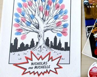 Comic Book Superhero Fingerprint Tree Wedding Guestbook