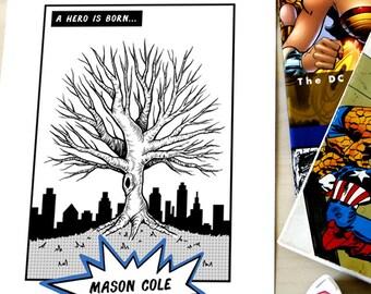 Comic Book Superhero Fingerprint Tree Baby Shower Guestbook - Digital File Only