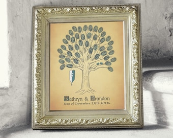 Renaissance Style Thumbprint Fingerprint Wedding Tree Guest Book Print  - Digital File Only