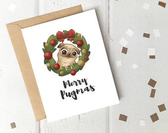 Merry Pugmas Printable Christmas Card