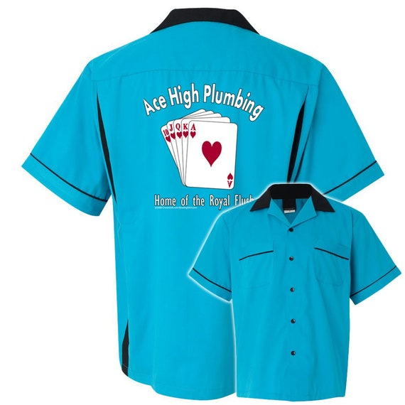 Ace High Plumbing On White//Black Retro Bowling Shirt