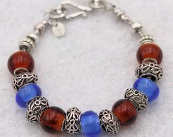 Red Blue Handmade Lampwork Lamp Work Glass Bead Bracelet Jewelry Studio MLJ Mark Lenn Johnson Premium Metal