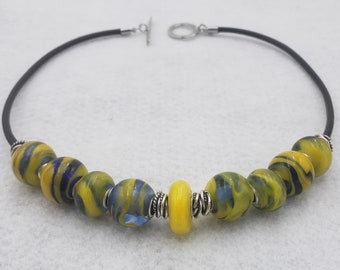 After Six Collection Blue Yellow Handmade Glass Lampwork Lamp Work Bead Necklace Sterling Silver Mark Lenn Johnson Studio MLJ Unveilings!