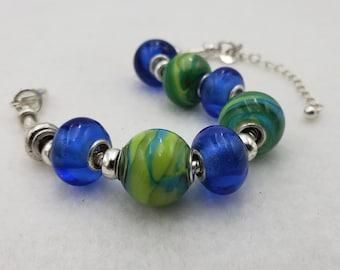 Green Blue Handmade Lampwork Lamp Work Glass Bead Bracelet Jewelry Studio MLJ Mark Lenn Johnson Spring/Summer 2021 Collection