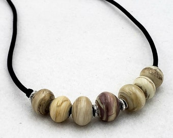 After Six Collection Ivory White Handmade Glass Lampwork Lamp Work Bead Necklace Sterling Silver Mark Lenn Johnson Studio MLJ Unveilings!