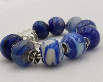 After Six Collection Blue Handmade Lampwork Lamp Work Glass Bead Bracelet Jewelry Studio MLJ Mark Lenn Johnson Sterling Silver