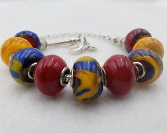 Red Blue Yellow Handmade Lampwork Lamp Work Glass Bead Bracelet Jewelry Studio MLJ Mark Lenn Johnson Spring/Summer 2021 Collection