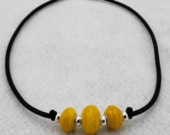 Yellow Handmade Glass Lampwork Lamp Work Focal Art Bead Pendant Necklace Mark Lenn Johnson Studio MLJ Unveilings!