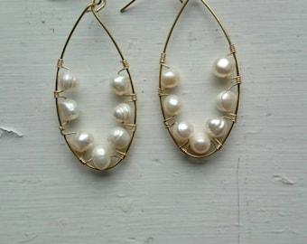 Wrapped pearl earrings