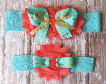 Something Blue Anchor Wedding Garter Set Gold Anchors Wedding Garters...Bridal Garter and Toss Garter Coral Blue