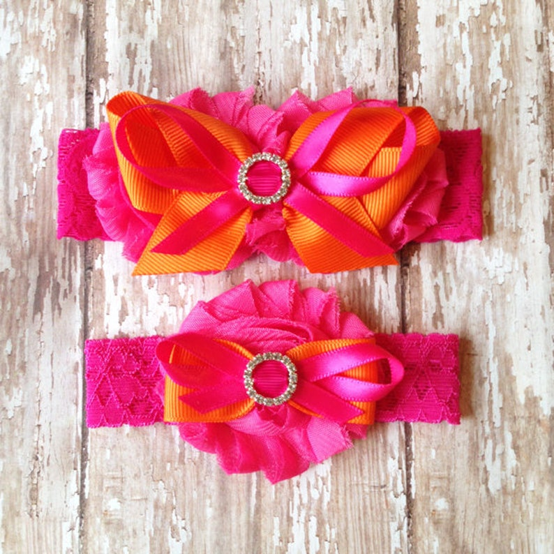 Pink and Orange Garter Set Bright Pink and Orange Wedding Garters Bridal Garter and Toss Garter