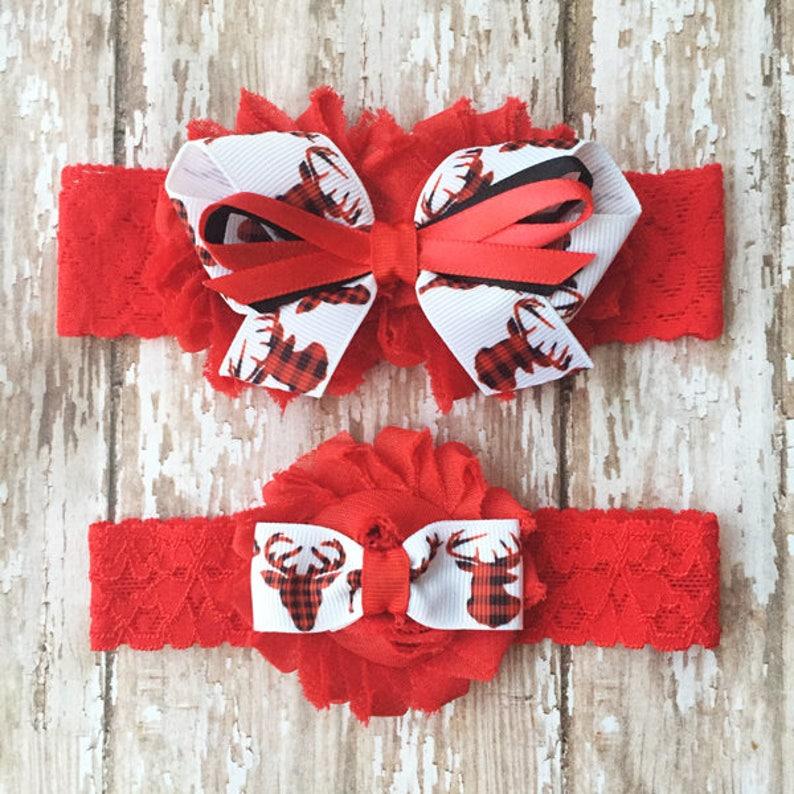 Prom Garter Deer Wedding Garters Red and Black Plaid Bridal and Toss Garter Buffalo Plaid Deer Garter Set