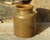 French stoneware mustard pot, brown stoneware, kitchen container, French vintage, French farmhouse chic, utensil holder, stoneware jar,