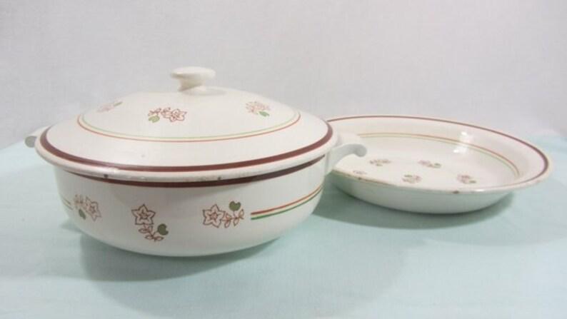 1950/'s, soup tureen French vintage serving bowl /& plate serving platter hand finished /'Katy/' Tureen French vintage Gien ceramics