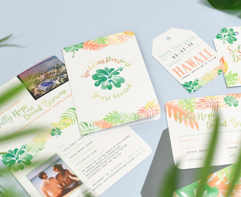 Wedding Stationery Set for Tropical Destination Wedding Custom colours at no extra charge