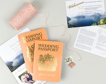 Orange and Gold Foil British Passport Invitation with matching Information Postcard for Italian Lakes Wedding
