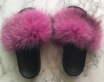 1dcf2134bd4c9 SL Fluffy Slides Name Peony Color Pink Faux Fur Slippers | Etsy
