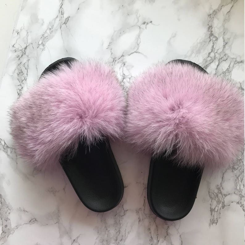 09c68d776061a SL Fluffy Slides Name Bell Color Light Pink Real Fox Fur Slippers Fashion  Sandals