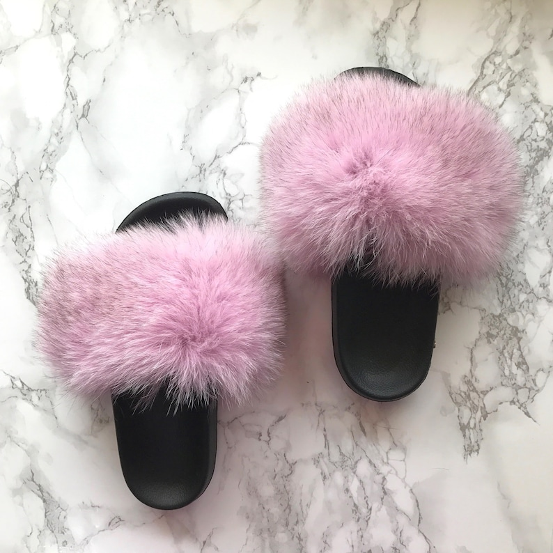 c9cde2471e65 SL Fluffy Slides Name Bell Color Light Pink Real Fox Fur
