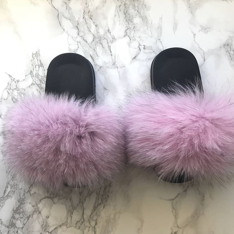 05b30bf31c287 SL Mini Fluffy Slides Name Bell Fluffy Color Light Pink Fox Fur Slippers  Fashion Sandals