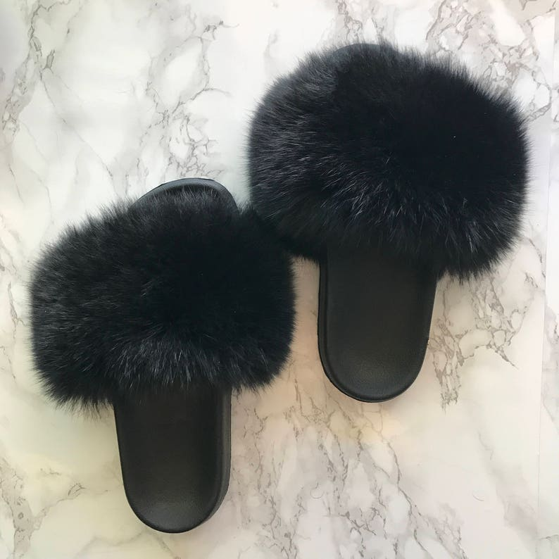 be278ebb86f7 SL Fluffy Slides Name Blk Orchid Color Black Real Fox Fur