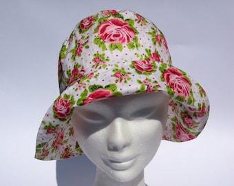 b923802e womens floral print rain hat, fairy rain hat, bucket rain hat, floppy rain  hat, medium or large size