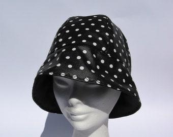 6c42d27ea8f Women rain hat black white trendy flapper rain hat bucket