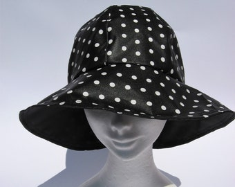 e8dde9f57db30 women rain hat, trendy black rain flapper hat, fold back brim hat, all  weather ladies hat, gift for her, medium o large size