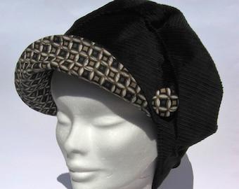 ladies newsboy cap, women's bakerboy cap, soft and cosy velvet black cap,vintage inspired ladies hat, bakerboy newsboy beret medium large