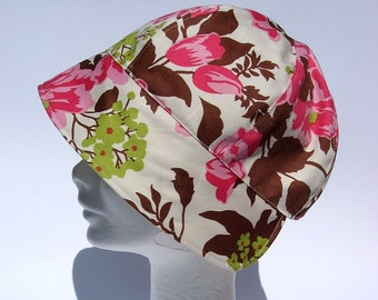 womens summer cloche, colorful floppy hat,trendy stylish accessory ladies, flower power summer