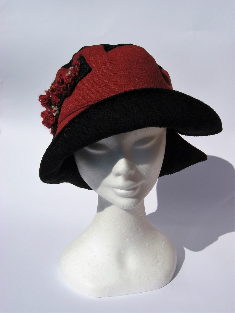91e37bd24 womens fabric bucket hat, feminin floppy hat red black, autumn winter hat,  packable fedora hat, small size