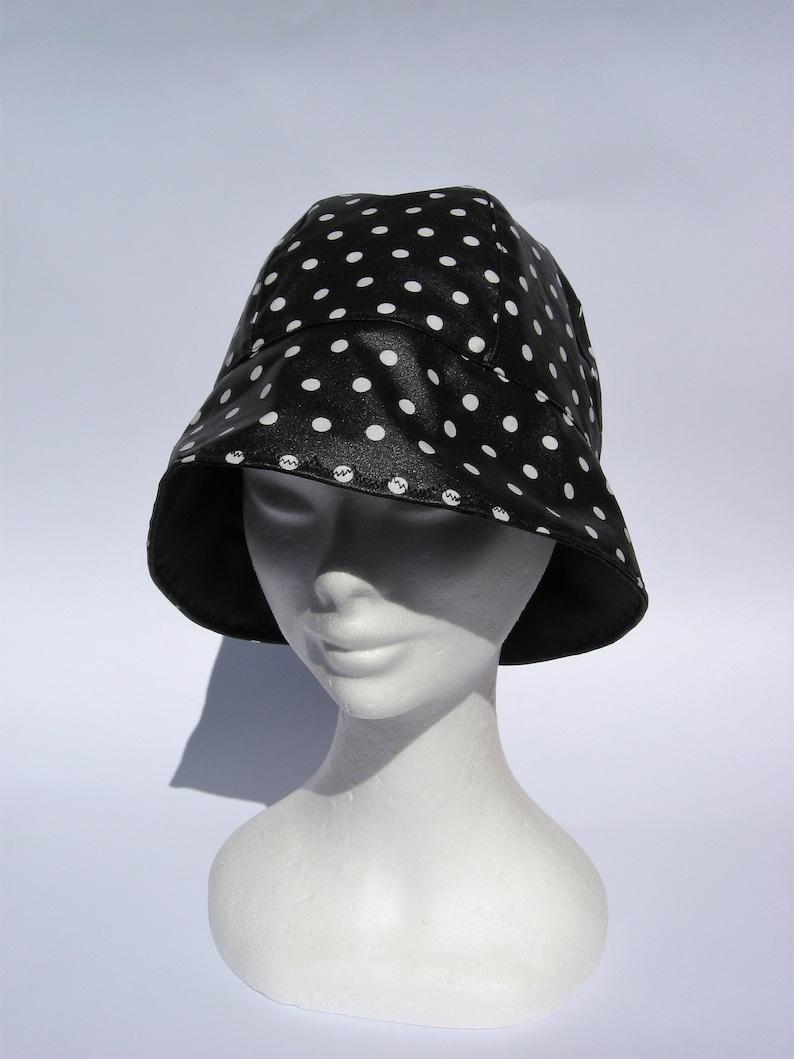 b7ba5b55e01 Women rain cloche hat rain bucket hat waterproof fabric dots