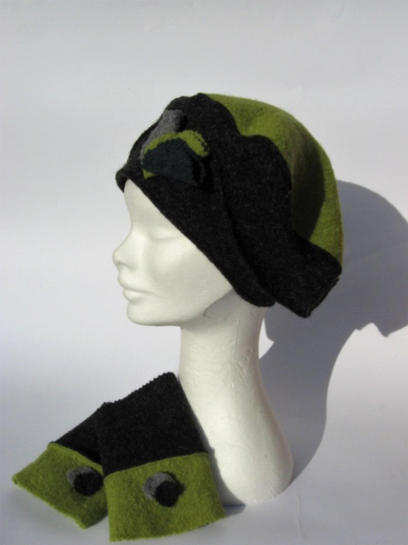 Berretto Basco e manicotti lana cotta elegante set inverno  76f3da0b1d0c