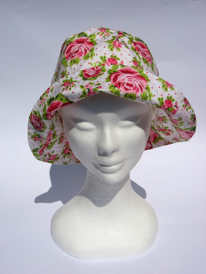 womens floral print rain hat floppy rain hat bucket rain hat medium or large size fairy rain hat