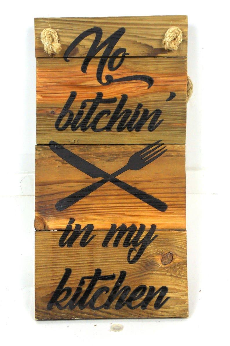 No Bitchin in My Kitchen 6x9 Bamboo cutting board