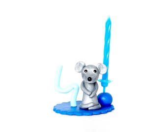 Blue Boy 4 birthday candle