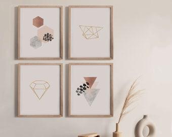 Scandinavian Modern Copper Wall Art Prints - Geometric Abstract Posters with Marble, Blush, Diamond Print, Hexagon
