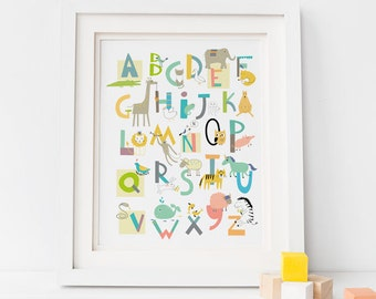 ABC Wall art - Alphabet art - Animal nursery - abc nursery print - gender neutral - letter art print