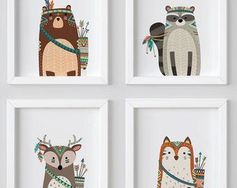 Woodland Nursery Tribal Nursery Decor, Forest Animal Print, Forest Nursery, Tribal Animals Art, Boy Woodlands Nursery, Fox Racoon
