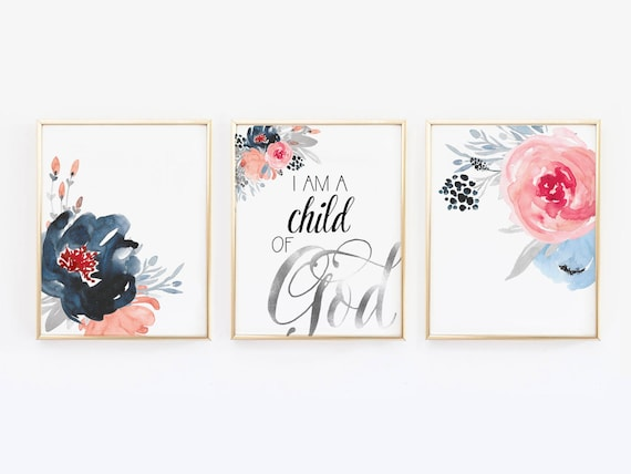 I Am A Child Of God Wall Print Floral Nursery Decor Floral Etsy