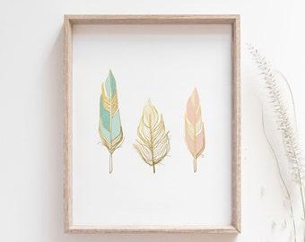 Feathers wall art print -  Faux Gold Foil Print - Blush Pink Mint and Gold - Scandinavian modern - Nursery art
