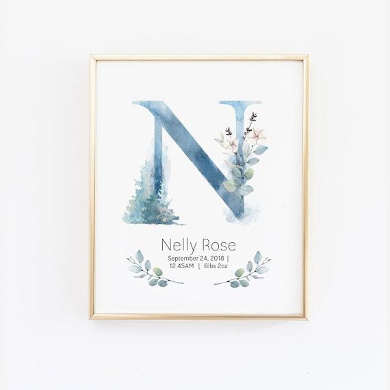 Personalised Baby Nursery Print Art Poster Name Birth Details Keepsake
