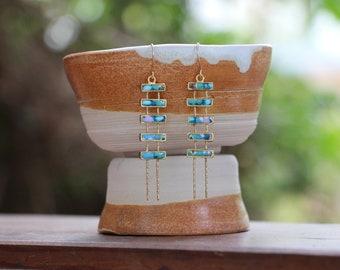 Gold Blue and White Earrings, Bars Earrings, Gift for Women, Gift for Girl, Unique Earrings, Original Jewelry, Simona Azriel, Israel Jewelry